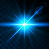 Lente blu luminosa di incandescenza di effetto Effetti della luce realistici Sole brillante, abbagliamento, raggi luminosi Illust Fotografia Stock