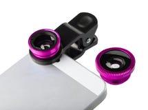 Lente cor-de-rosa do grampo para o telefone celular imagens de stock