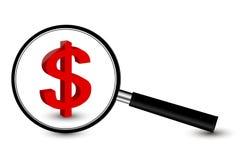 Lente d'ingrandimento con il simbolo del dollaro Fotografia Stock