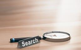 Lente d'ingrandimento Concetto della ricerca di web Immagine Stock
