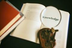 Lente d'ingrandimento concettuale di istruzione di conoscenza sulla lettura del libro Fotografia Stock