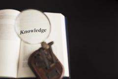 Lente d'ingrandimento concettuale di istruzione di conoscenza sulla lettura del libro Immagini Stock Libere da Diritti