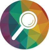Lente d'ingrandimento di ricerca isolata intorno al vettore del bottone di web fotografie stock libere da diritti