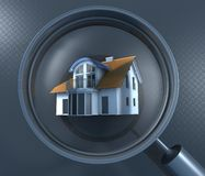 Lente d'ingrandimento e casa Fotografia Stock Libera da Diritti