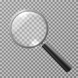 Lente d'ingrandimento realistica sull'illustrazione a quadretti di vettore del fondo illustrazione di stock