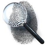 Lente d'ingrandimento sopra l'impronta digitale Immagini Stock Libere da Diritti