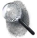 Lente d'ingrandimento sopra l'impronta digitale di griglia del punto, mostrare naturale Fotografie Stock Libere da Diritti