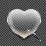 Lente d'ingrandimento sotto forma del cuore su fondo trasparente Immagine Stock
