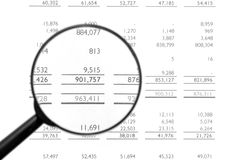 Lente d'ingrandimento sul bilancio finanziario Fotografia Stock