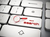 Lente d'ingrandimento sulla chiave di ricerca Immagine Stock Libera da Diritti