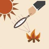 A lente de ampliação com luz do sol cria o fogo ilustração stock