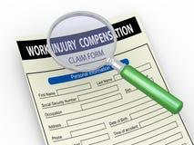 lente de aumento 3d e formulário de reclamação de ferimento de trabalho ilustração royalty free