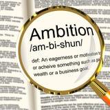 Lente de aumento da definição da ambição que mostra a motivação das aspirações e ilustração do vetor