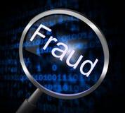 A lente de aumento da fraude indica rasga-se fora e pesquisa-se Fotos de Stock