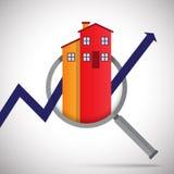 Lente de aumento do negócio da propriedade Imagens de Stock Royalty Free