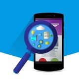 Lente de aumento lisa com ícones do seo Sites e aplicações liso Fotos de Stock Royalty Free