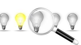 Lente de aumento procurando para a lâmpada ilustração royalty free
