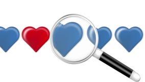 Lente de aumento procurando para o coração