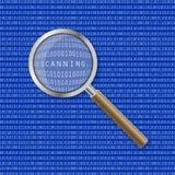 Lente de aumento que aumenta a inscrição no código binário Faça a varredura do processo exploração Imagens de Stock Royalty Free