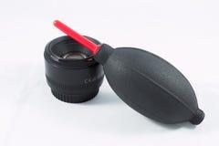 Lente de cámara con la bomba Imagenes de archivo