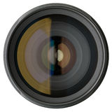 Lente de câmera isolada no branco imagens de stock