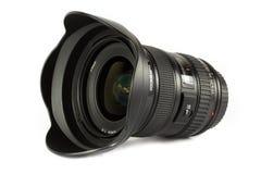 Lente de câmera no branco fotografia de stock