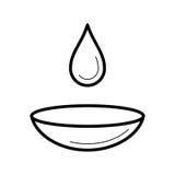 Lente de contacto con un icono húmedo del descenso, ejemplo del vector libre illustration