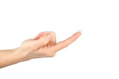 Lente de contato no dedo imagem de stock royalty free