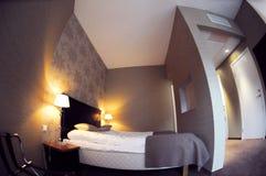 Lente de fisheye do quarto de hotel imagem de stock