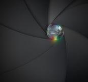 Lente de la cámara con el mundo ilustración del vector