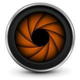 Lente de la foto de la cámara con el obturador stock de ilustración