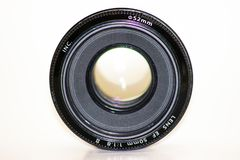 Lente de la lente de la foto de la c?mara, vieja y usado de c?mara, lente de c?mara aislada imagen de archivo libre de regalías