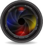 Lente de la foto de la cámara con el obturador Imagen de archivo