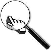 Lente de zoom e cursor da palma 3d. ilustração stock
