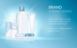 Lente del contacto visual Sistema realista de lentes, solución, descensos, caso, botella Modelo del diseño Médico y cosmético fotografía de archivo