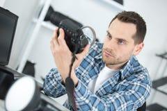 Lente di fotocamera grande formato con la lente d'ingrandimento Immagini Stock