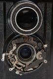 Lente due di vecchio primo piano d'annata della macchina fotografica Fotografie Stock Libere da Diritti