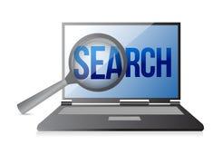 Lente e ricerca su uno schermo del computer portatile Fotografia Stock Libera da Diritti