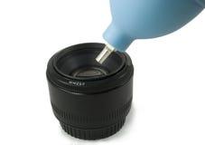 Lente e ventilador pretos isolados da câmera DSLR Imagens de Stock