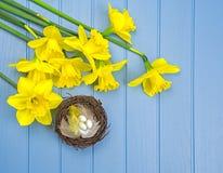 Lente gekleurde bloemen met de decoratie van het vogel` s nest Stock Afbeeldingen