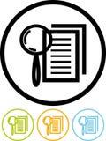 Lente que magnifica y documento - icono del vector Imagen de archivo libre de regalías
