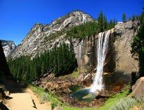 Lentedalingen met regenboog, het Nationale Park van Yosemite stock fotografie