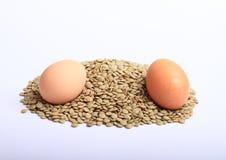 Lentejas con los huevos Imagen de archivo