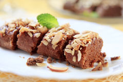 Lenten Almond Cake. Sprinkled with chopped nuts Royalty Free Stock Images