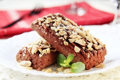 Lenten Almond Cake. Sprinkled with chopped nuts Royalty Free Stock Photo