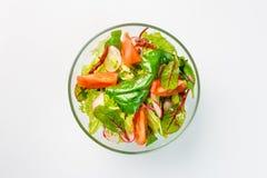 Lenten sallad med grönsallat, rädisor och tomater på en vit bakgrund royaltyfri fotografi