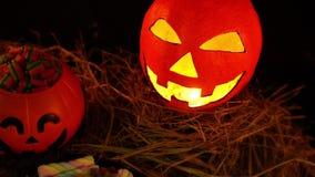 Lentern pompoen geanimeerd voor Halloween-dag stock video