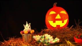 Lentern pompoen geanimeerd voor Halloween-dag stock videobeelden