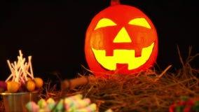 Lentern pompoen geanimeerd voor Halloween-dag stock footage