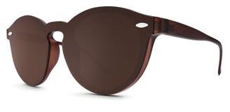 Lentes manchadas del espejo del marrón de las gafas de sol aisladas en el backgro blanco fotos de archivo libres de regalías
